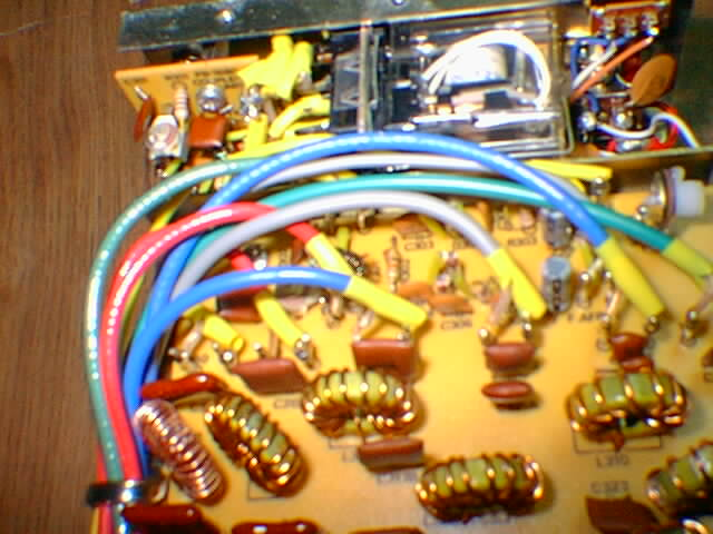 FL-110 LPF board rear and RF relay, click to enlarge